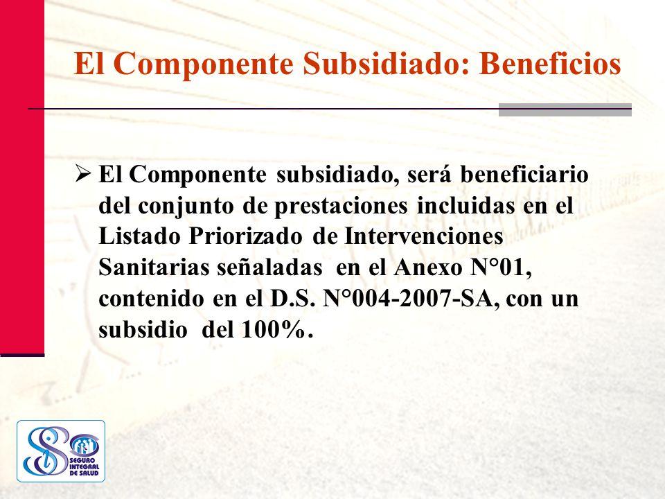 El Componente Subsidiado: Beneficios