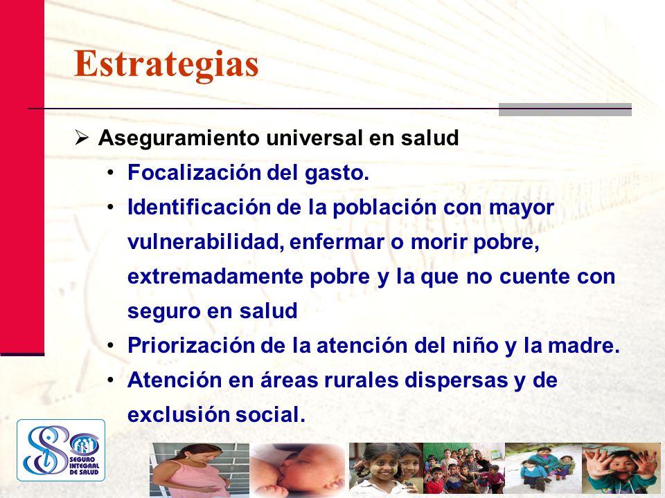 Estrategias Aseguramiento universal en salud Focalización del gasto.