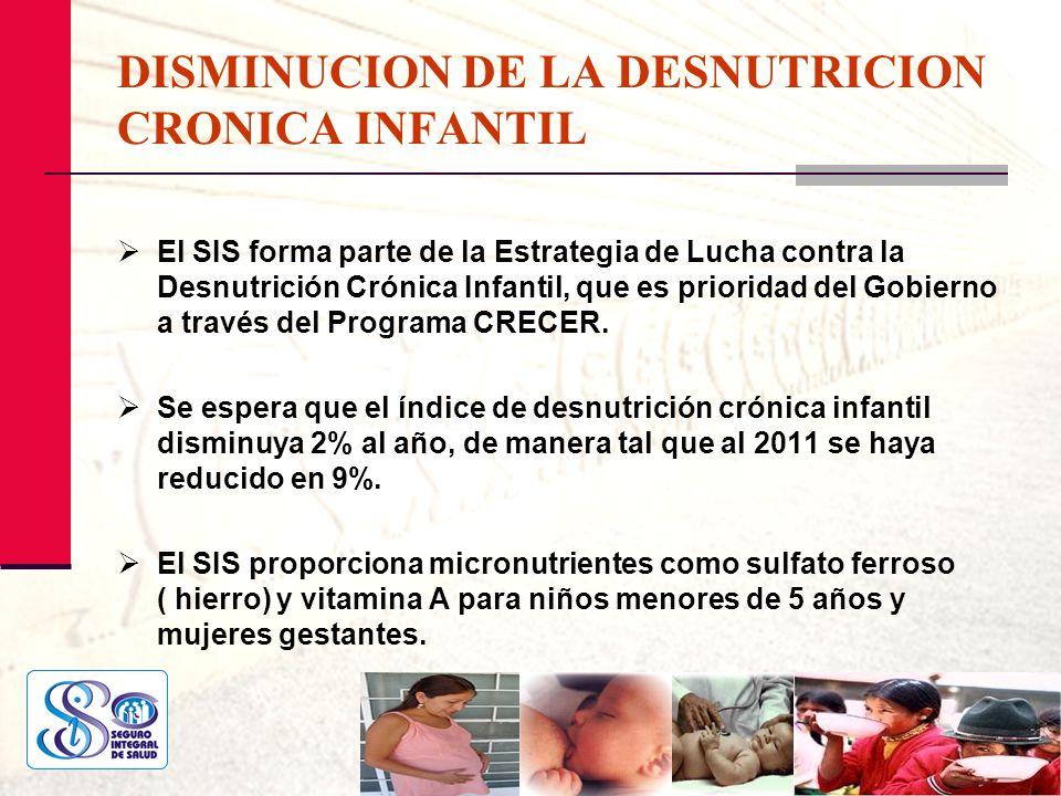 DISMINUCION DE LA DESNUTRICION CRONICA INFANTIL