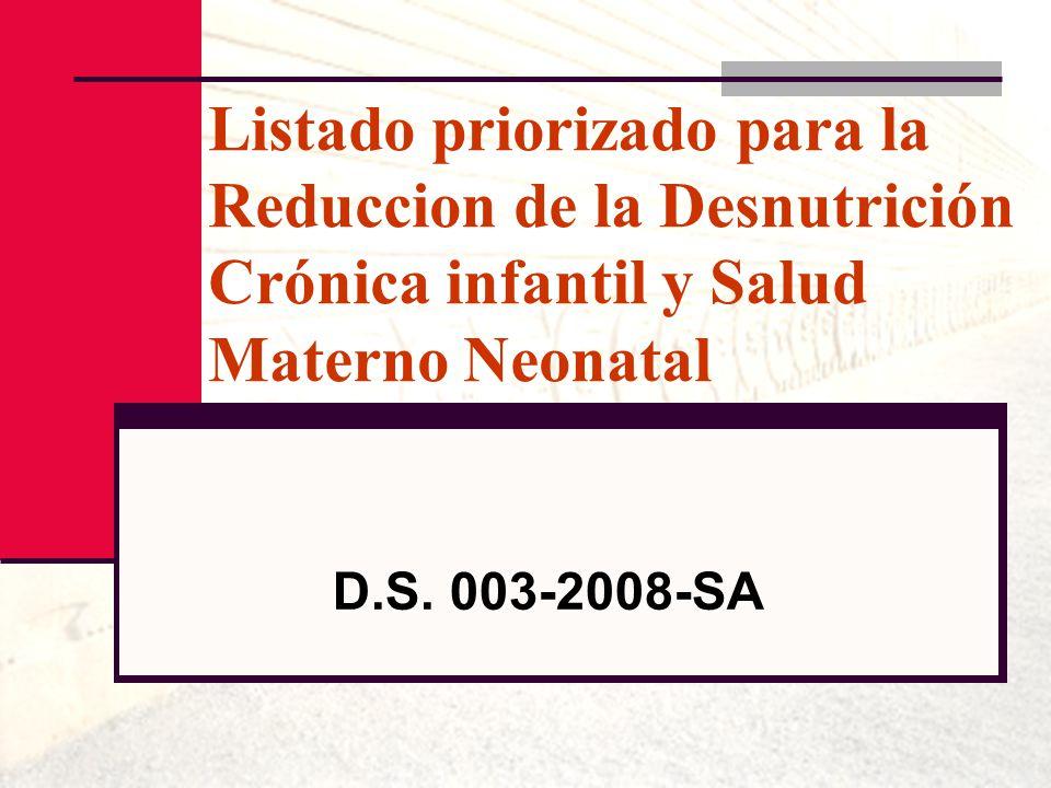 Listado priorizado para la Reduccion de la Desnutrición Crónica infantil y Salud Materno Neonatal