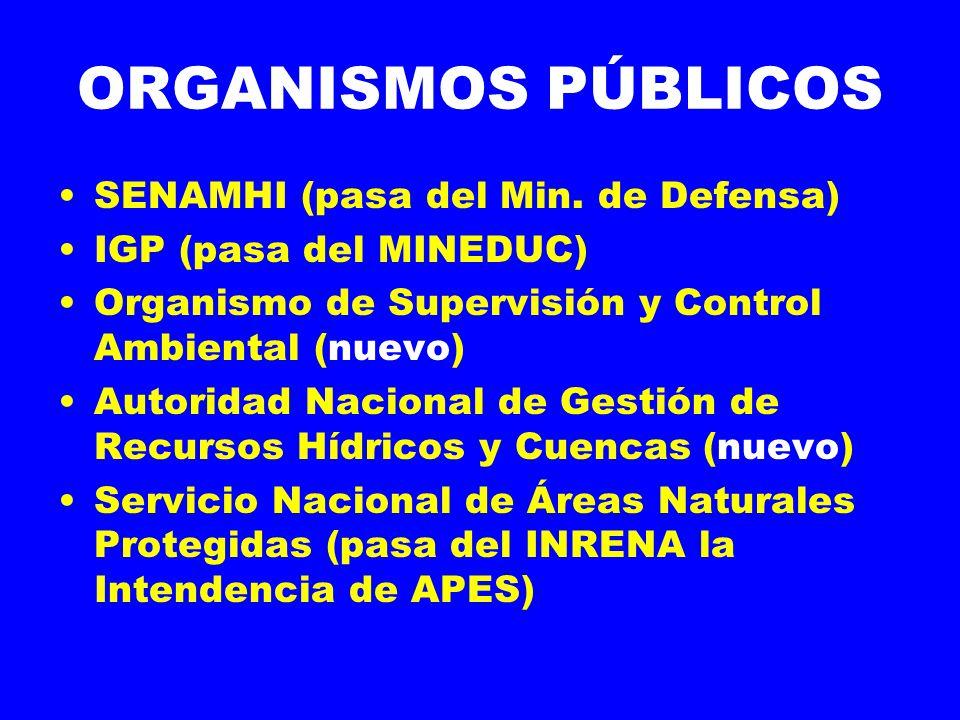 ORGANISMOS PÚBLICOS SENAMHI (pasa del Min. de Defensa)
