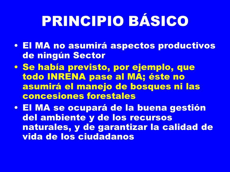 PRINCIPIO BÁSICO El MA no asumirá aspectos productivos de ningún Sector.