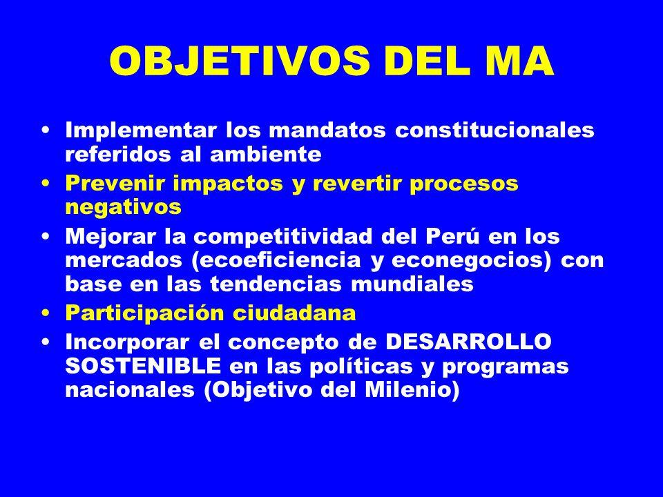 OBJETIVOS DEL MA Implementar los mandatos constitucionales referidos al ambiente. Prevenir impactos y revertir procesos negativos.