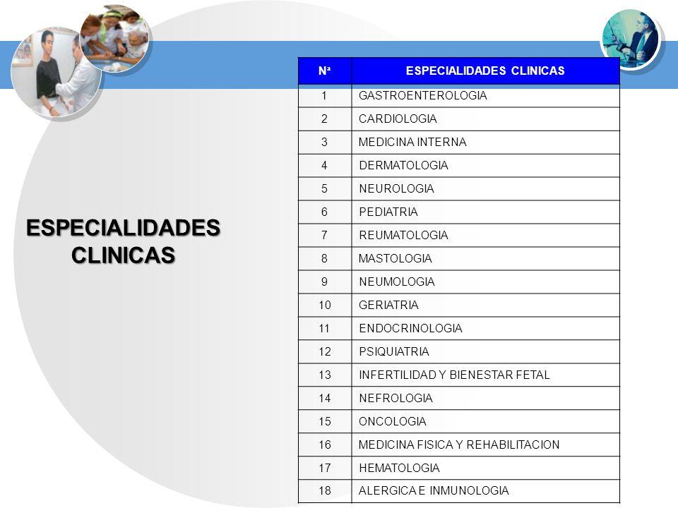 ESPECIALIDADES CLINICAS