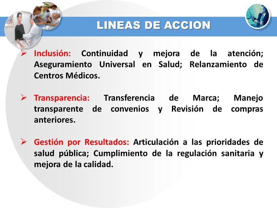 LINEAS DE ACCION Inclusión: Continuidad y mejora de la atención; Aseguramiento Universal en Salud; Relanzamiento de Centros Médicos.