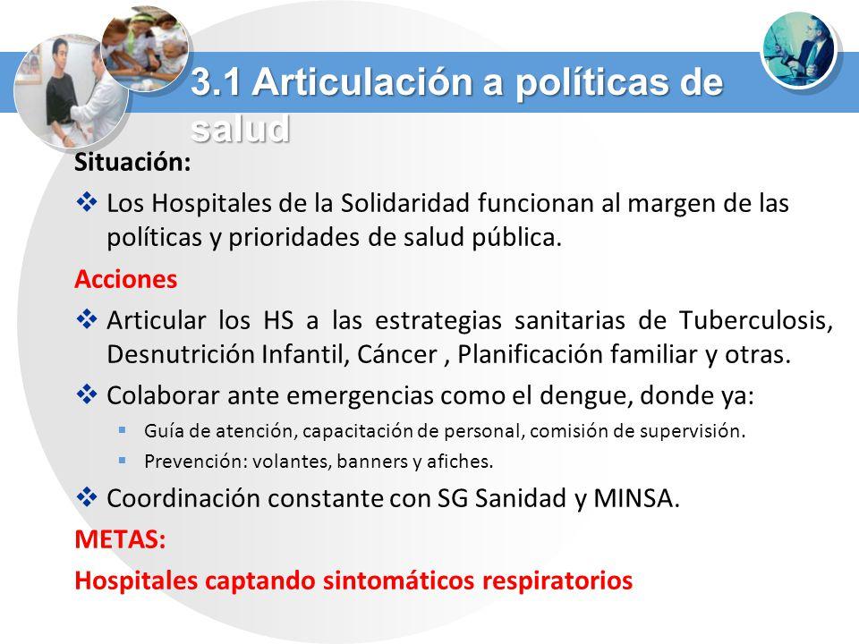 3.1 Articulación a políticas de salud
