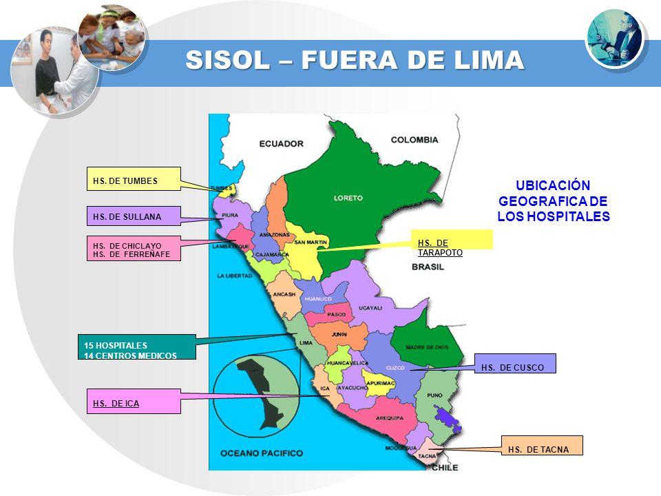 SISOL – FUERA DE LIMA UBICACIÓN GEOGRAFICA DE LOS HOSPITALES