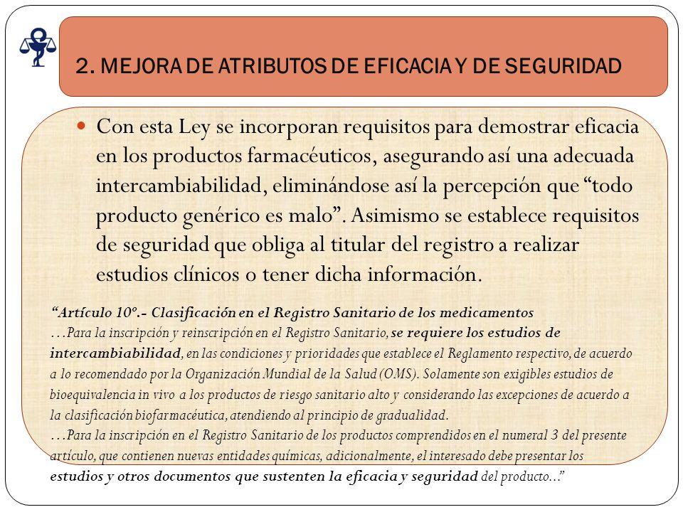 2. MEJORA DE ATRIBUTOS DE EFICACIA Y DE SEGURIDAD