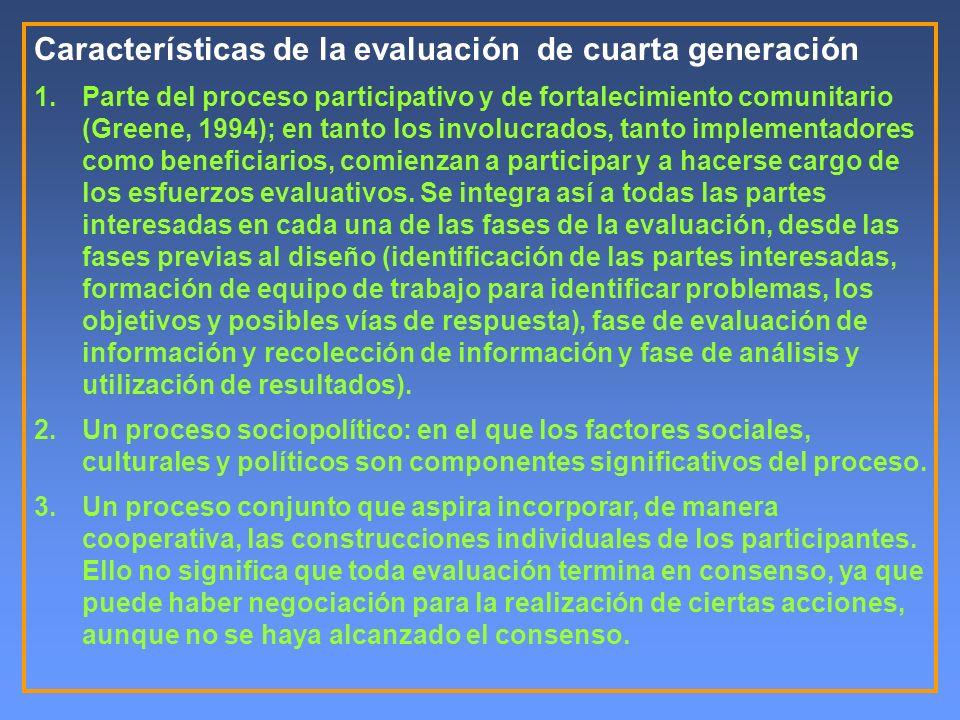 Características de la evaluación de cuarta generación