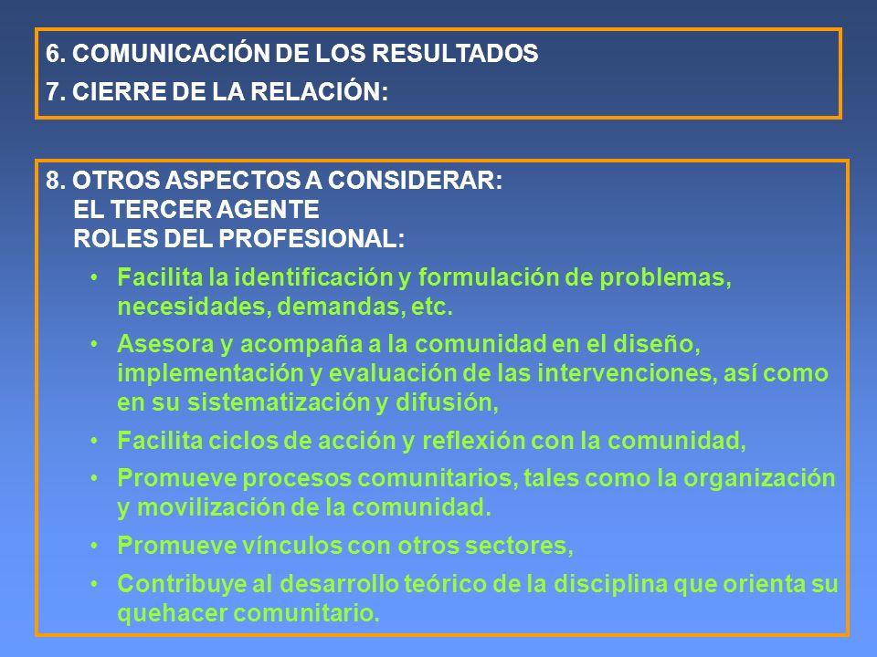6. COMUNICACIÓN DE LOS RESULTADOS