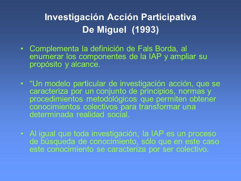 Investigación Acción Participativa De Miguel (1993)