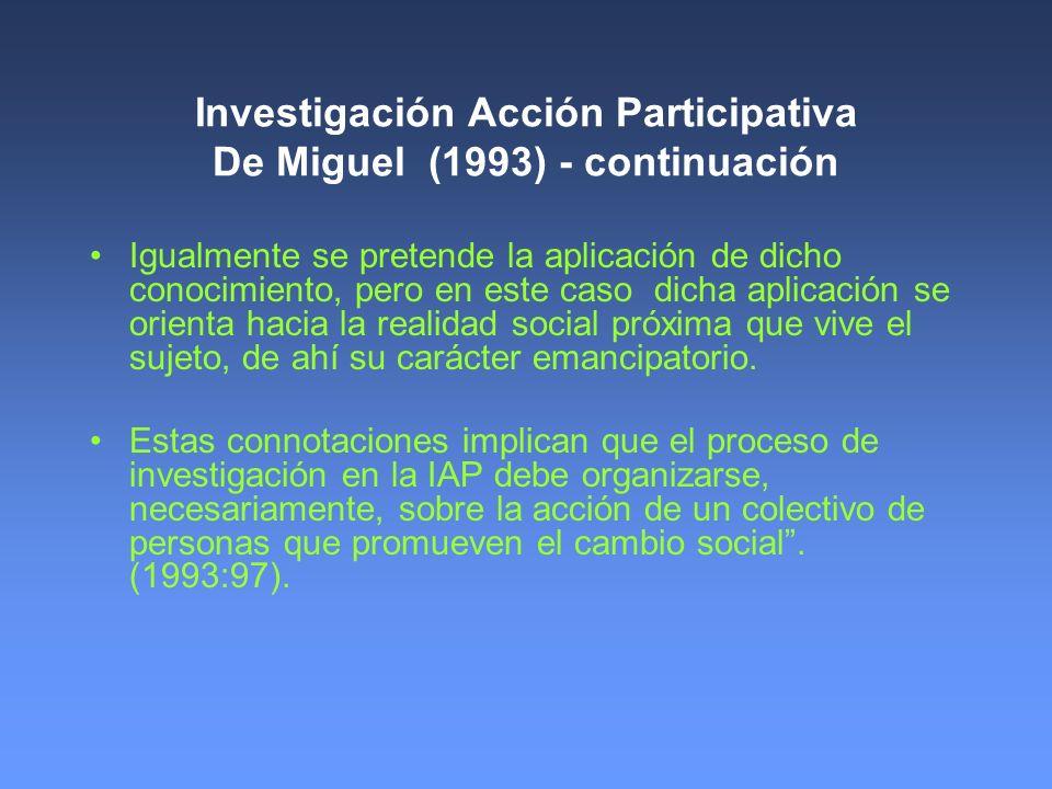Investigación Acción Participativa De Miguel (1993) - continuación