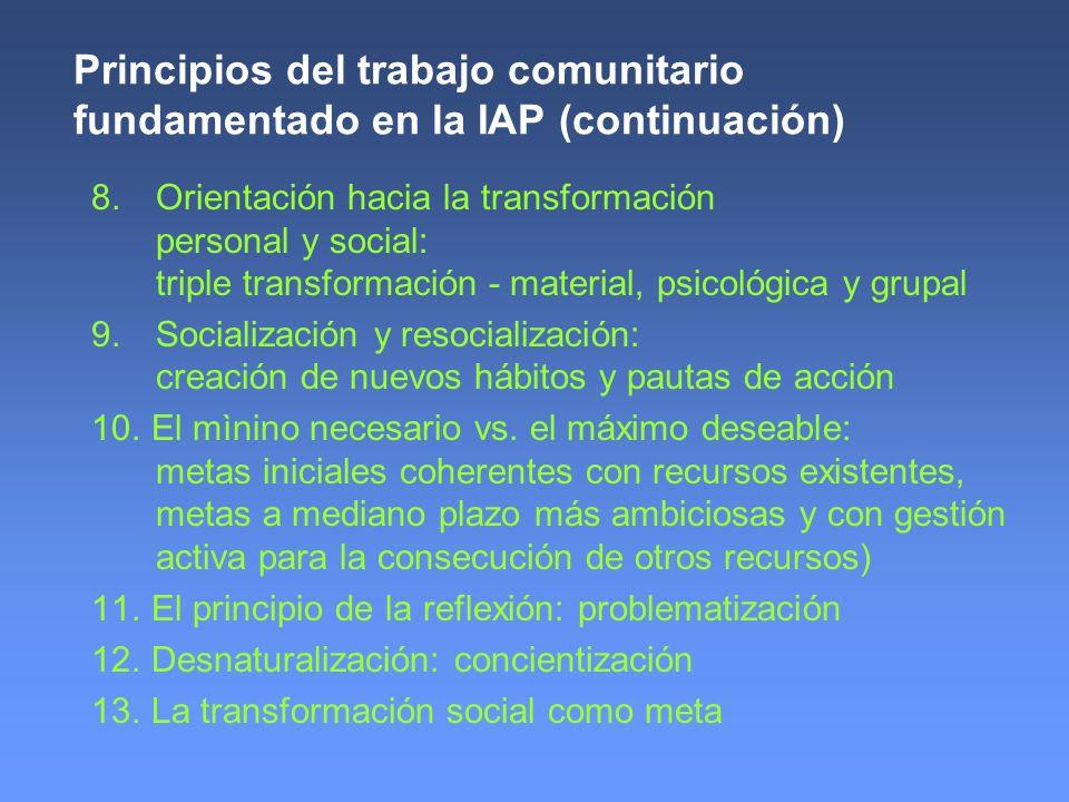 Principios del trabajo comunitario fundamentado en la IAP (continuación)