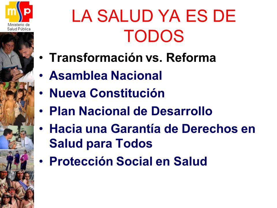 LA SALUD YA ES DE TODOS Transformación vs. Reforma Asamblea Nacional