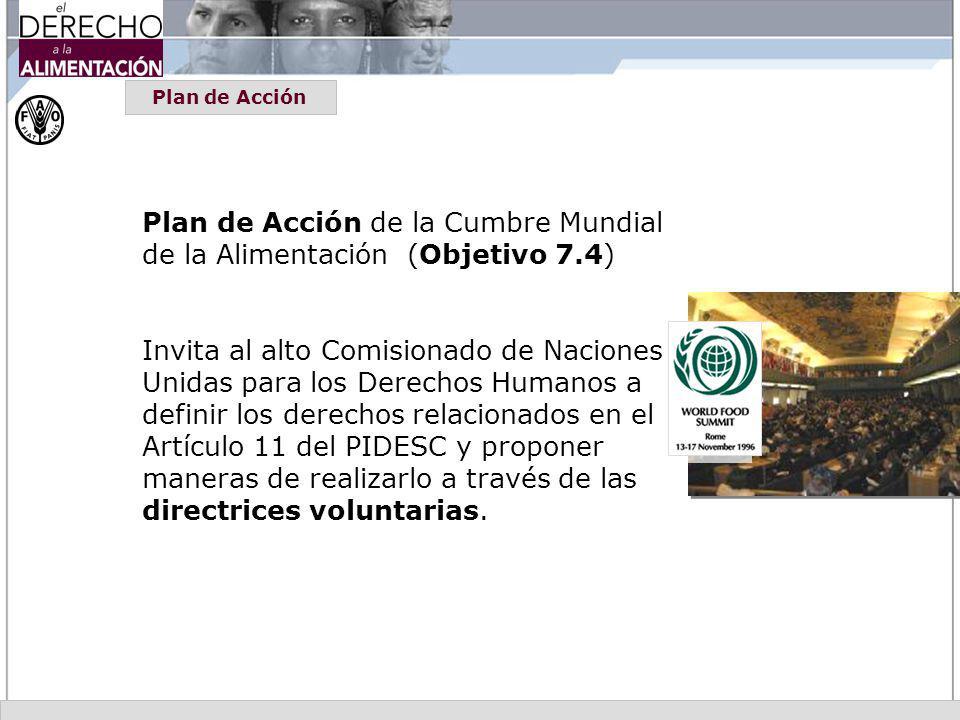 Plan de Acción de la Cumbre Mundial de la Alimentación (Objetivo 7.4)