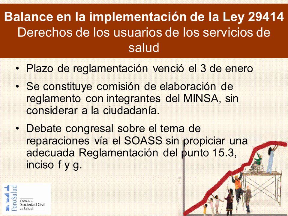 Balance en la implementación de la Ley 29414 Derechos de los usuarios de los servicios de salud