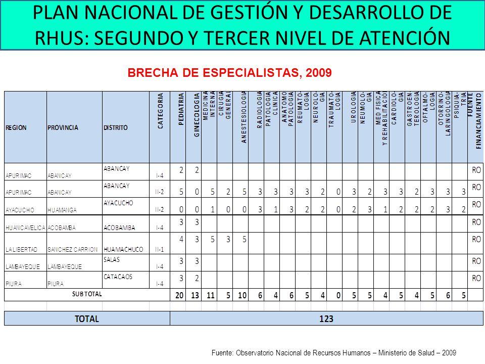 BRECHA DE ESPECIALISTAS, 2009