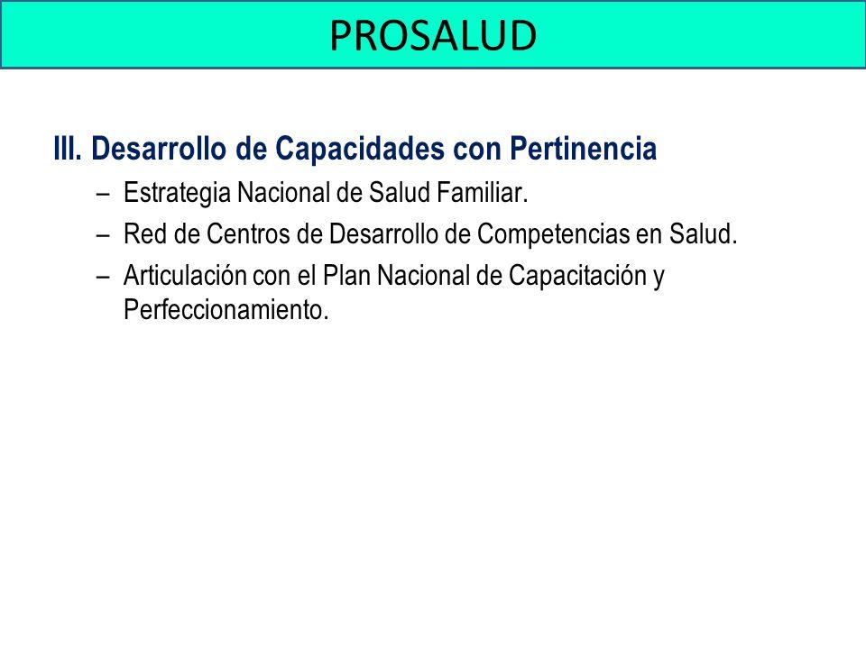 PROSALUD III. Desarrollo de Capacidades con Pertinencia