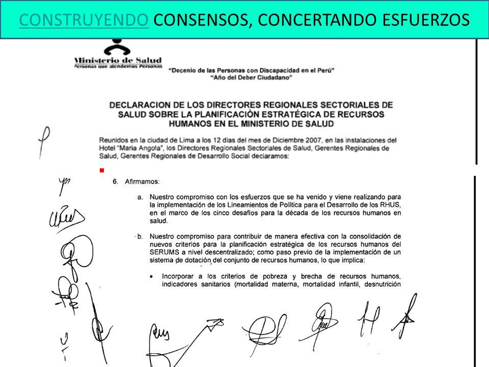 CONSTRUYENDO CONSENSOS, CONCERTANDO ESFUERZOS