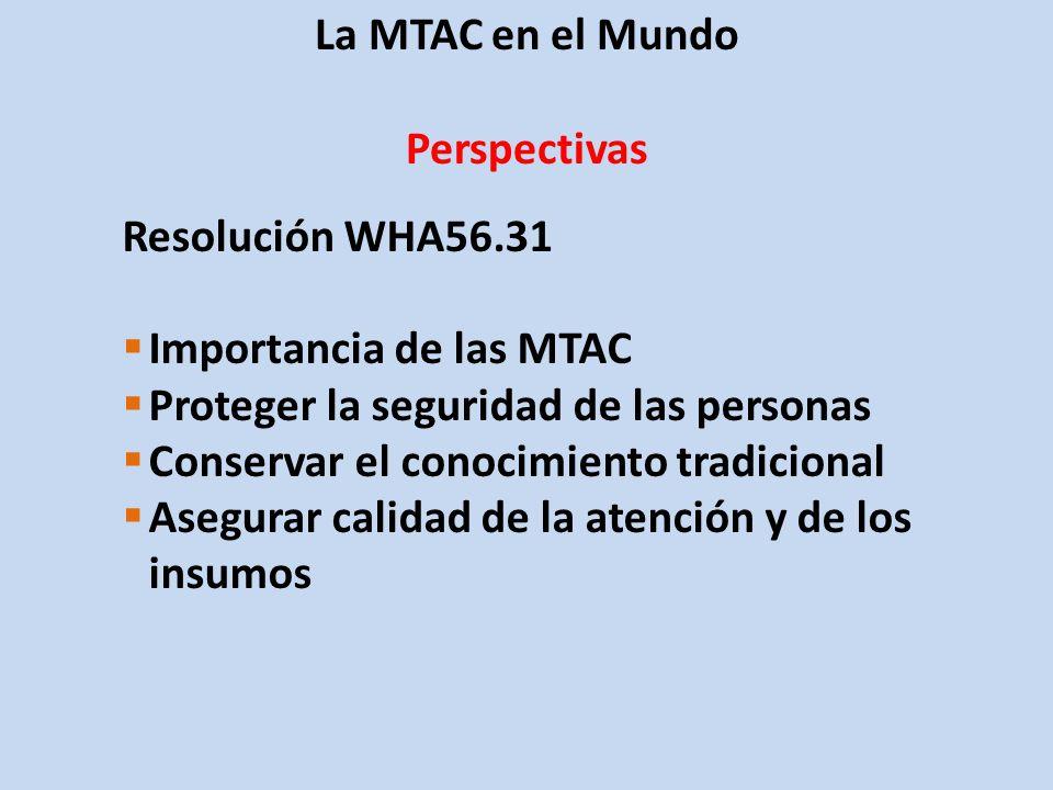 La MTAC en el Mundo Perspectivas. Resolución WHA56.31. Importancia de las MTAC. Proteger la seguridad de las personas.