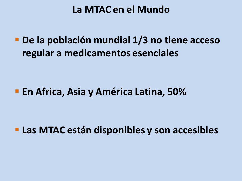 La MTAC en el Mundo De la población mundial 1/3 no tiene acceso regular a medicamentos esenciales. En Africa, Asia y América Latina, 50%