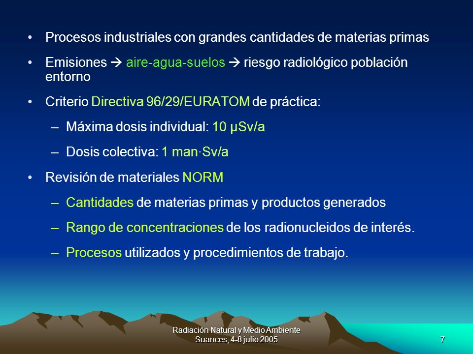Radiación Natural y Medio Ambiente Suances, 4-8 julio 2005