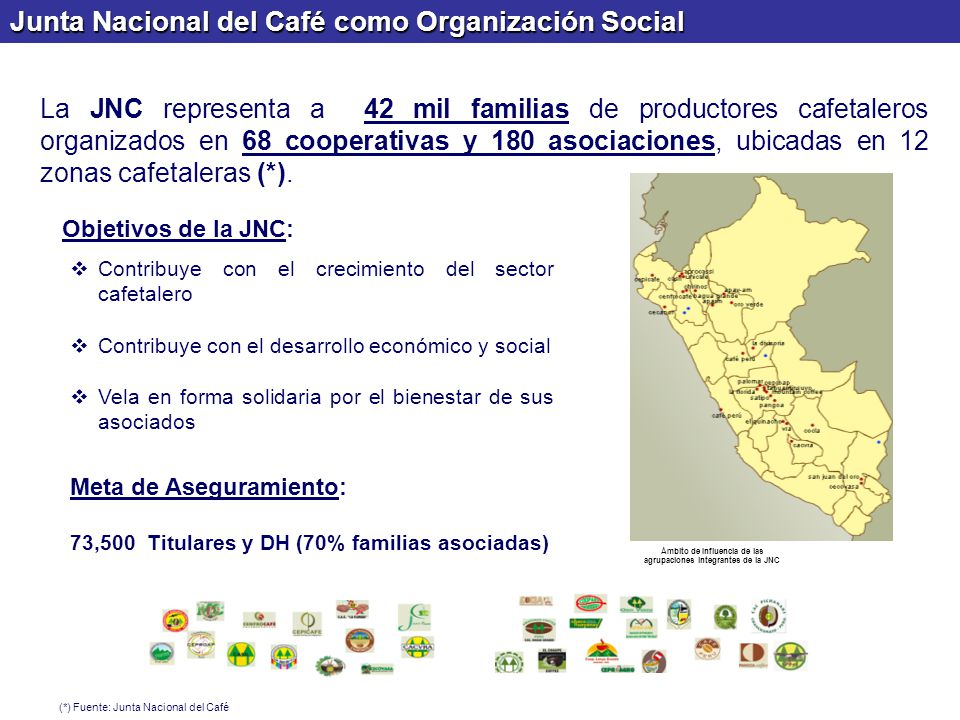 Ámbito de Influencia de las agrupaciones integrantes de la JNC