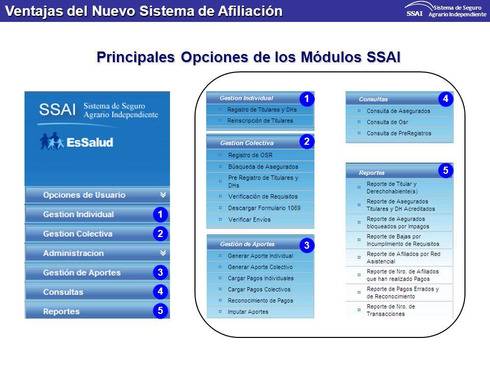 Agrario Independiente Principales Opciones de los Módulos SSAI