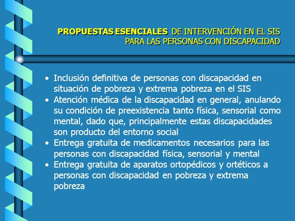 PROPUESTAS ESENCIALES DE INTERVENCIÓN EN EL SIS PARA LAS PERSONAS CON DISCAPACIDAD
