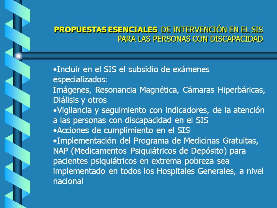 Incluir en el SIS el subsidio de exámenes especializados: