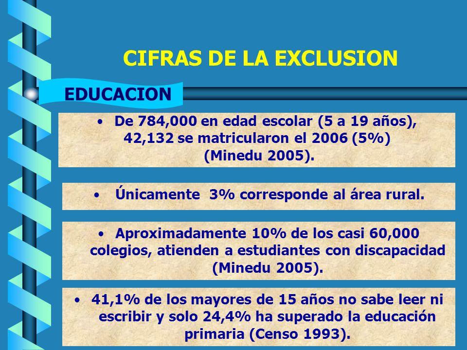 CIFRAS DE LA EXCLUSION EDUCACION