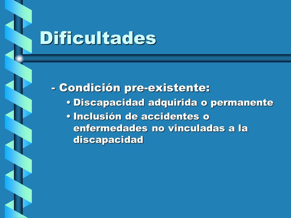 Dificultades - Condición pre-existente: