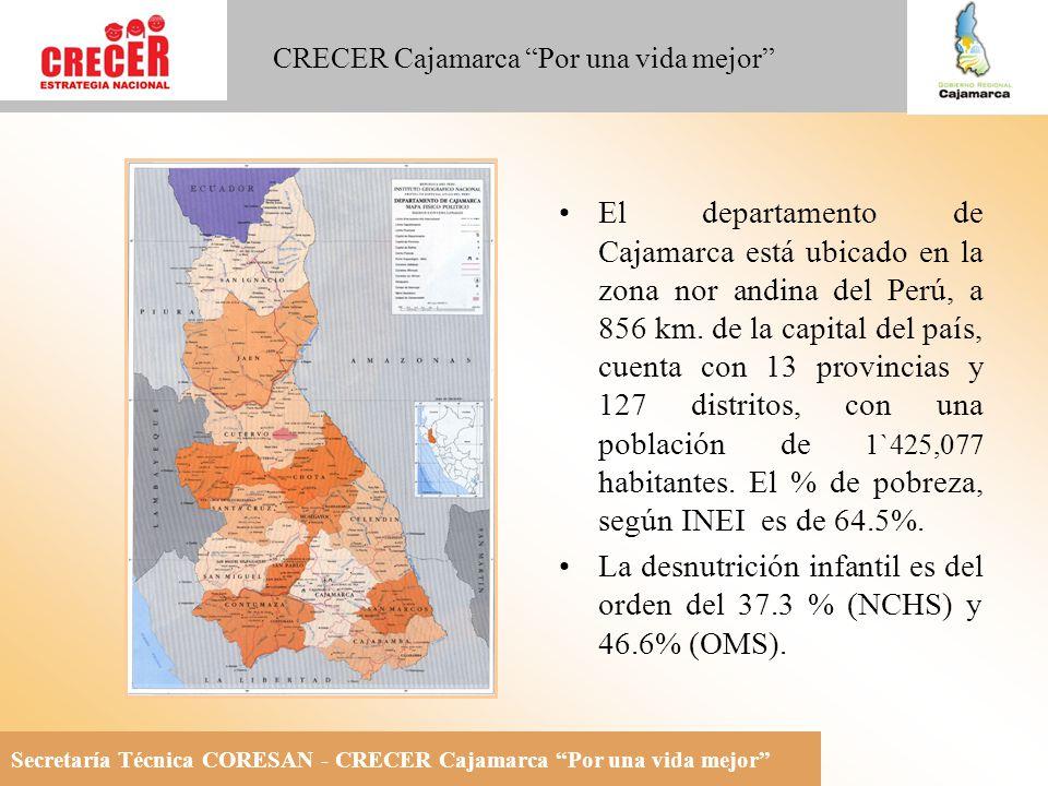 El departamento de Cajamarca está ubicado en la zona nor andina del Perú, a 856 km. de la capital del país, cuenta con 13 provincias y 127 distritos, con una población de 1`425,077 habitantes. El % de pobreza, según INEI es de 64.5%.