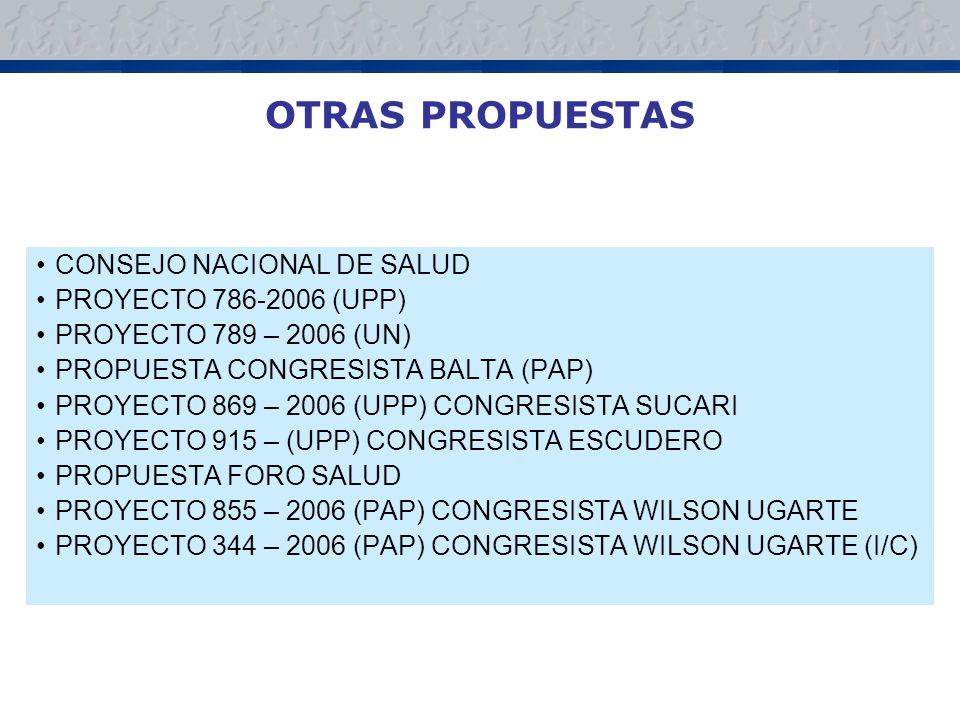 OTRAS PROPUESTAS CONSEJO NACIONAL DE SALUD PROYECTO 786-2006 (UPP)