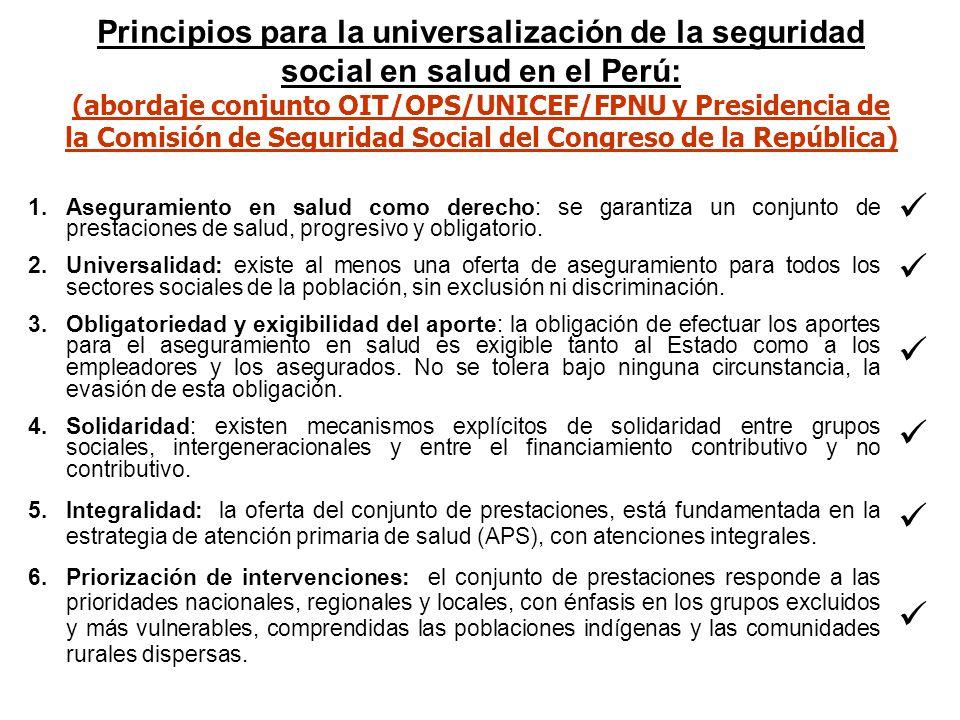 Principios para la universalización de la seguridad social en salud en el Perú: (abordaje conjunto OIT/OPS/UNICEF/FPNU y Presidencia de la Comisión de Seguridad Social del Congreso de la República)