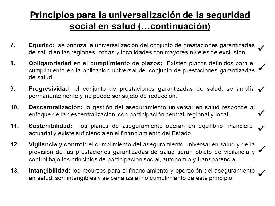 Principios para la universalización de la seguridad social en salud (…continuación)
