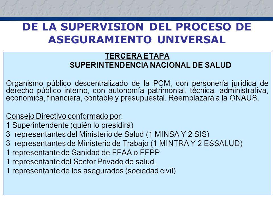 DE LA SUPERVISION DEL PROCESO DE ASEGURAMIENTO UNIVERSAL