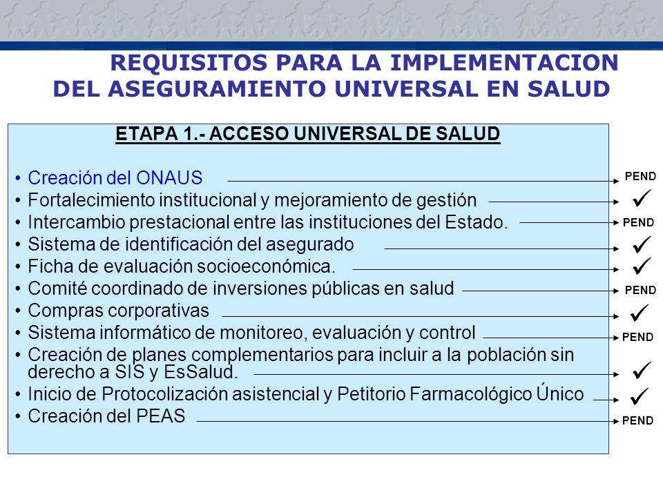 REQUISITOS PARA LA IMPLEMENTACION DEL ASEGURAMIENTO UNIVERSAL EN SALUD