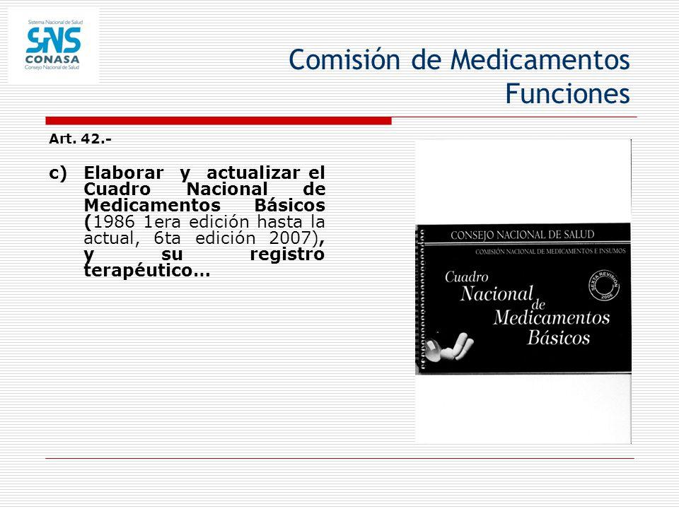Comisión de Medicamentos Funciones