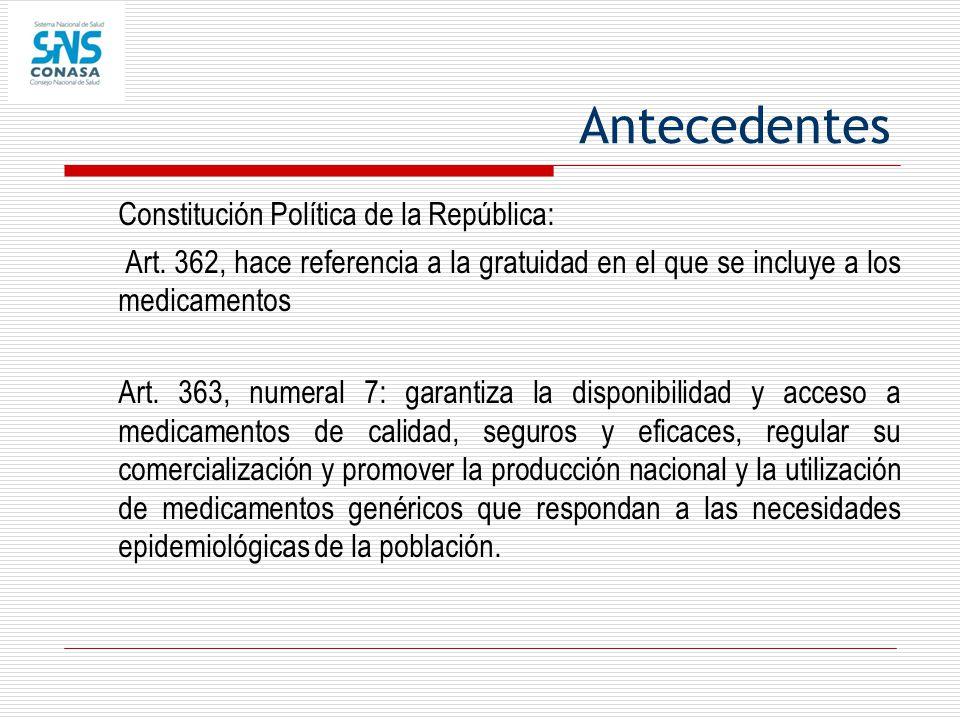 Antecedentes Constitución Política de la República: