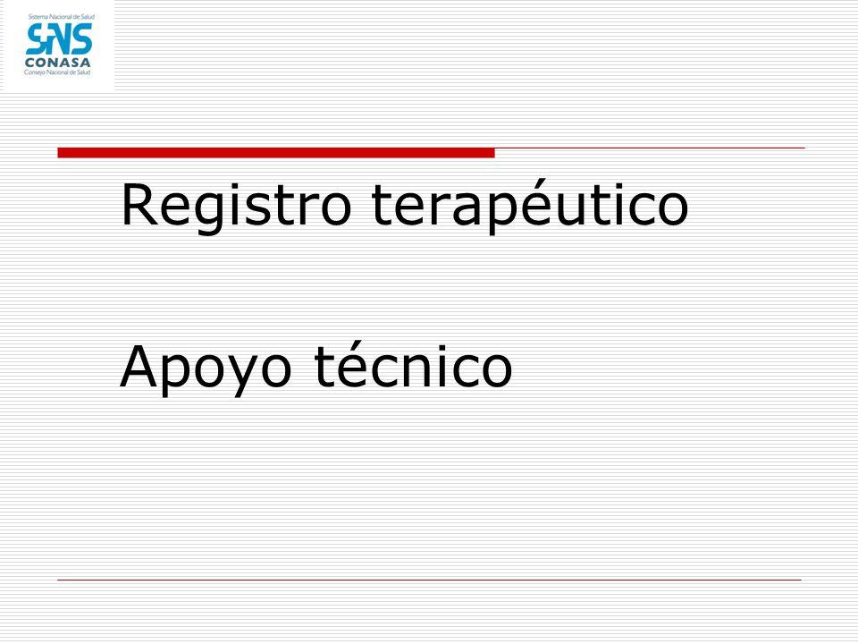 Registro terapéutico Apoyo técnico
