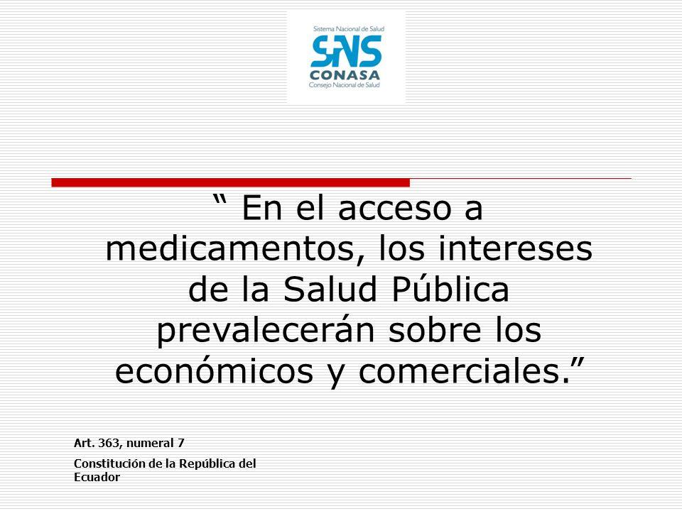 En el acceso a medicamentos, los intereses de la Salud Pública prevalecerán sobre los económicos y comerciales.