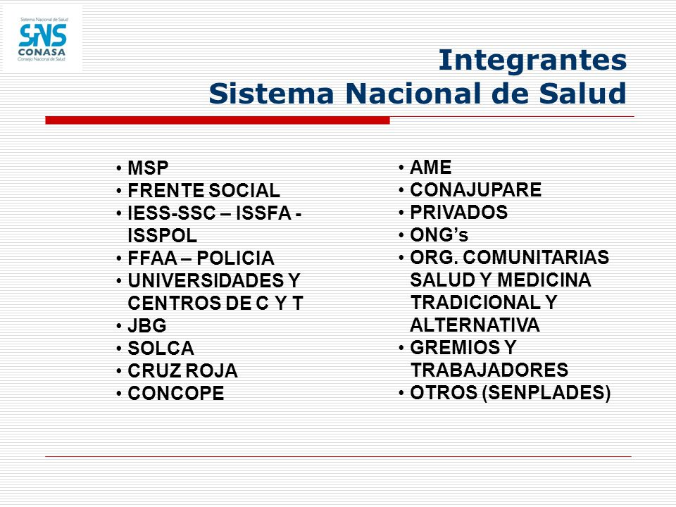 Integrantes Sistema Nacional de Salud