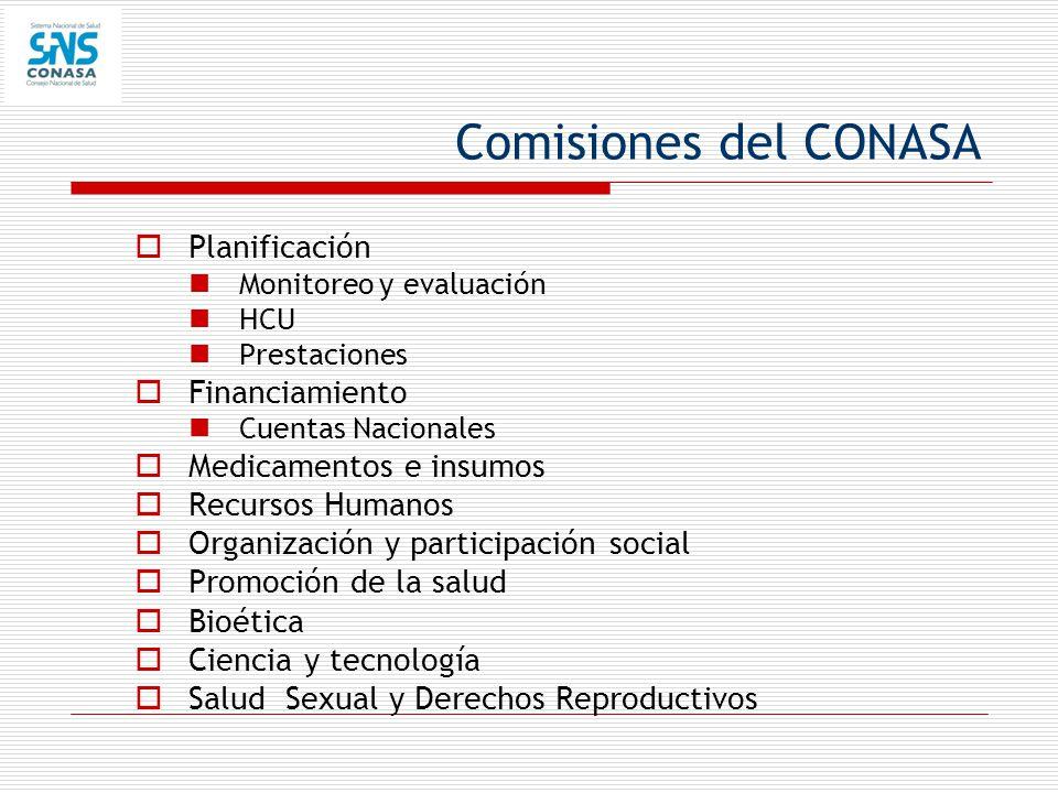 Comisiones del CONASA Planificación Financiamiento
