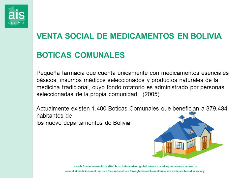 VENTA SOCIAL DE MEDICAMENTOS EN BOLIVIA BOTICAS COMUNALES