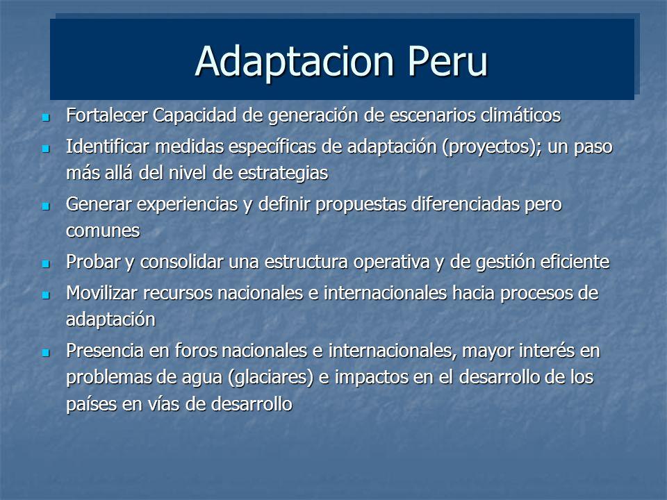 Adaptacion Peru Fortalecer Capacidad de generación de escenarios climáticos.