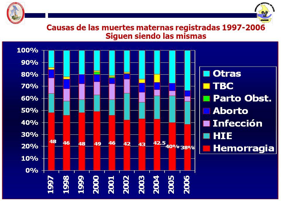 Causas de las muertes maternas registradas 1997-2006