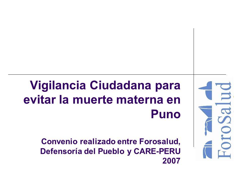 Vigilancia Ciudadana para evitar la muerte materna en Puno