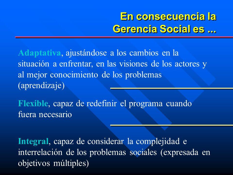 En consecuencia la Gerencia Social es ...