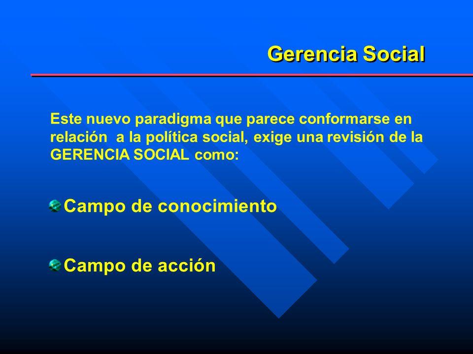 Gerencia Social Campo de conocimiento Campo de acción